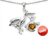 Original Star K™ Baby Stork Mother Pendant with Heart Genuine Citrine style: 308461