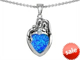 Original Star K™ Loving Mother And Father With Child Family Pendant With Heart Shape 8mm Created Blue Opal style: 308467