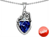 Original Star K™ Loving Mother And Father With Child Family Pendant With Heart Shape 8mm Created Sapphire style: 308469