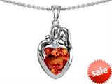 Original Star K™ Loving Mother And Father With Child Family Pendant Heart Shape 8mm Simulated Orange Mexican Fire Opal style: 308471