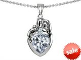 Original Star K™ Loving Mother And Father With Child Family Pendant With Heart Shape 8mm Genuine White Topaz style: 308475