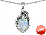 Original Star K™ Loving Mother And Father With Child Family Pendant With Heart Shape 8mm Created Opal style: 308476