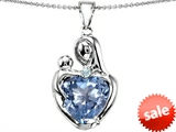 Original Star K™ Large Loving Mother With Child Pendant With 12mm Heart Shape Simulated Aquamarine style: 308480