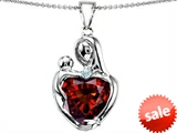 Original Star K™ Large Loving Mother With Child Pendant With 12mm Heart Shape Simulated Garnet style: 308481