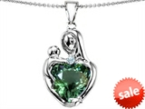 Original Star K™ Large Loving Mother With Child Pendant With 12mm Heart Shape Simulated Green Tourmaline style: 308483