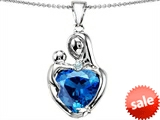 Original Star K™ Large Loving Mother With Child Pendant With 12mm Heart Shape Simulated Blue Topaz style: 308484