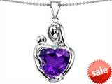 Original Star K™ Large Loving Mother With Child Pendant With 12mm Heart Shape Simulated Amethyst style: 308485