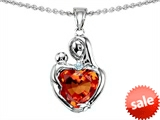 Original Star K™ Loving Mother With Child Hugging Pendant With Heart Shape 8mm Simulated Orange Mexican Fire Opal style: 308489