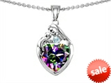 Original Star K™ Loving Mother With Child Family Pendant With 8mm Heart Shape Rainbow Mystic Topaz style: 308492