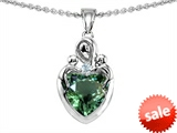 Original Star K™ Loving Mother with Twins Children Pendant With 8mm Heart Simulated Green Tourmaline style: 308494