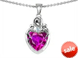 Original Star K™ Loving Mother with Twins Children Pendant With 8mm Heart Simulated Pink Tourmaline style: 308499