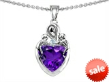 Original Star K™ Loving Mother with Twins Children Pendant With 8mm Heart Simulated Amethyst style: 308500