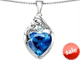 Original Star K™ Large Loving Mother With Child Family Pendant With 12mm Heart Simulated Blue Topaz style: 308501