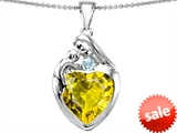 Original Star K™ Large Loving Mother With Child Family Pendant With 12mm Heart Simulated Yellow Sapphire style: 308503