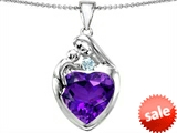 Original Star K™ Large Loving Mother With Child Family Pendant With 12mm Heart Simulated Amethyst style: 308504