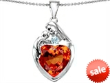 Original Star K™ Large Loving Mother With Child Family Pendant With 12mm Heart Simulated Orange Mexican Fire Opal style: 308506