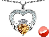 Celtic Love by Kelly™ Hands Holding 8mm Crown Heart Claddagh Pendant with Simulated Imperial Yellow Topaz style: 308513