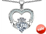 Celtic Love by Kelly™ Hands Holding 8mm Crown Heart Claddagh Pendant with Genuine White Topaz style: 308516