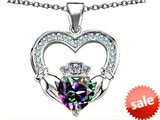 Celtic Love by Kelly™ Hands Holding 8mm Crown Heart Claddagh Pendant with Rainbow Mystic Topaz style: 308517