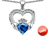 Celtic Love by Kelly™ Hands Holding 8mm Crown Heart Claddagh Pendant with Simulated Blue Topaz style: 308520