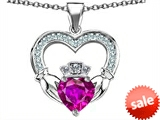 Celtic Love by Kelly™ Hands Holding 8mm Crown Heart Claddagh Pendant with Simulated Pink Sapphire style: 308522
