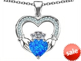Celtic Love by Kelly™ Hands Holding 8mm Crown Heart Claddagh Pendant with Created Blue Opal style: 308523