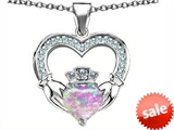 Celtic Love by Kelly™ Hands Holding 8mm Crown Heart Claddagh Pendant with Created Pink Opal style: 308527