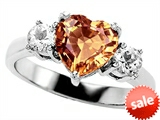 Original Star K™ 8mm Heart Shape Simulated Imperial Yellow Topaz Engagement Ring style: 308531