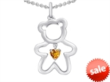 Original Star K™ Love Teddy Bear with 4mm Heart Shape Genuine Citrine style: 308581