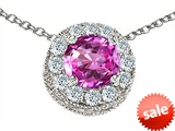 Original Star K™ Round 6mm Created Pink Sapphire Pendant style: 308589