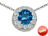 Original Star K™ Round 6mm Simulated Blue Topaz Pendant style: 308593