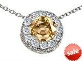 Original Star K™ Round 6mm Simulated Imperial Yellow Topaz Pendant style: 308597