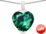 Original Star K™ 10mm Heart Shape Simulated Emerald Pendant style: 308599