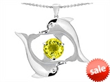 Original Star K™ Round 6mm Simulated Yellow Sapphire Dolphin Pendant style: 308609