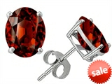 Original Star K™ Oval 8x6mm Genuine Garnet Earrings Studs style: 308612