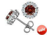 Original Star K™ Round Simulated Garnet Earrings style: 308621
