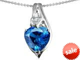 Original Star K™ Large 10mm Heart Shape Simulated Blue Topaz Heart Pendant style: 308622
