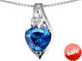 Original Star K™ Large 10mm Heart Shape Simulated Blue Topaz Heart Pendant style: 308622