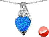 Original Star K™ Large 10mm Heart Shape Simulated Blue Opal Heart Pendant style: 308623