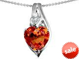 Original Star K™ Large 10mm Heart Shape Simulated Orange Mexican Fire Opal Heart Pendant style: 308631