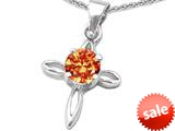 Original Star K™ Round Simulated Orange Mexican Fire Opal Cross Pendant style: 308634