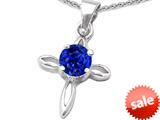 Original Star K™ Round Created Sapphire Cross Pendant style: 308635