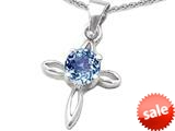 Original Star K™ Round Simulated Aquamarine Cross Pendant style: 308636