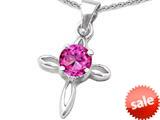 Original Star K™ Round Created Pink Sapphire Cross Pendant style: 308639