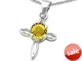 Original Star K™ Round Simulated Citrine Cross Pendant style: 308641