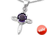 Original Star K™ Round Simulated Amethyst Cross Pendant style: 308642