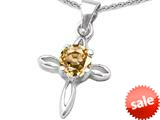 Original Star K™ Round Simulated Imperial Yellow Topaz Cross Pendant style: 308646