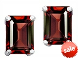 Original Star K™ Emerald Cut 8x6mm Simulated Garnet Earrings style: 308648