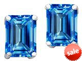 Original Star K™ Emerald Cut 8x6mm Simulated Blue Topaz Earrings style: 308649