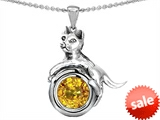 Original Star K™ Cat Lover Pendant with November Birthstone Simulated Citrine style: 308651